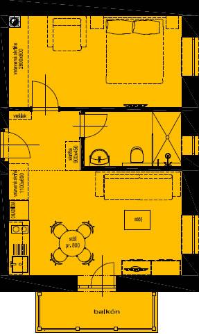 Pôdorys apartmánu 4